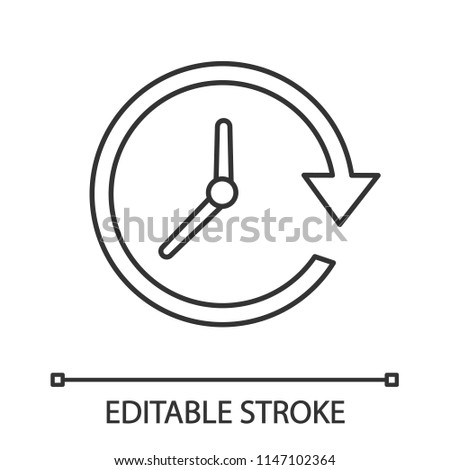 Update linear icon. Thin line illustration. Clockwise. Clock with circle arrow. Contour symbol. Vector isolated outline drawing. Editable stroke