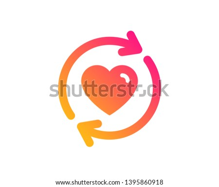 Update relationships icon. Love dating symbol. Valentines day sign. Classic flat style. Gradient update relationships icon. Vector