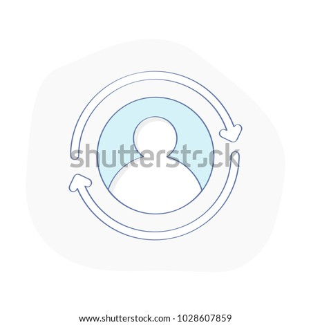 Update, Renew, Upgrade profile, User account icon concept. Human Silhouette and round arrow symbol. Modern vector illustration for web design interface.