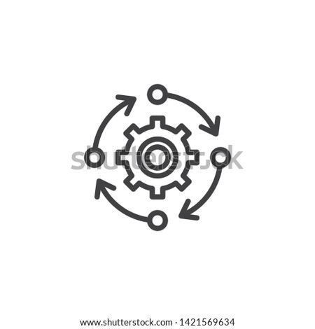 Update Settings, preferences line icon. Gear with arrows linear style sign for mobile concept and web design. Search engine optimization outline vector icon. Symbol, logo illustration. Vector graphics Сток-фото ©