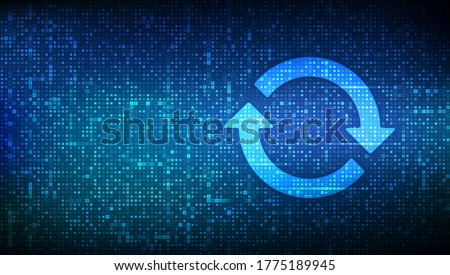 Update Software. Upgrade computer program version concept. Synchronization icons made with binary code. Digital binary data and streaming digital code. Matrix background with digits 1.0. Vector. Foto stock ©