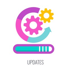 Updates icon. SEO, increase the quantity and quality of traffic to website. Digital marketing. Content strategy for online promotion. Marketing and advertising. Flat vector illustration.