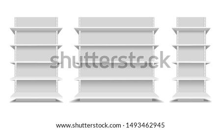 upermarket shelfs mockup. Store or shop shelving set vector illustration, supermarkets empty shelve set isolated, blank market retail product display template image