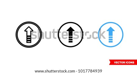 Upgrade icon of 3 types: color, black and white, outline. Isolated vector sign symbol.
