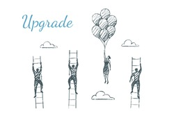 Upgrade. Men compete by climbing higher up the stairs. A woman is flying faster on balloons. Vector illustration, business concept, hand drawn sketch.
