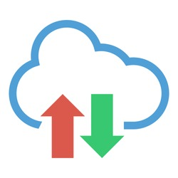 upload and download from the cloud, upload and download icon, flat illustration of cloud, vector icon for web.
