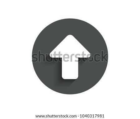 Upload arrow simple icon. Direction Arrowhead symbol. Navigation pointer sign. Circle flat button with shadow. Vector