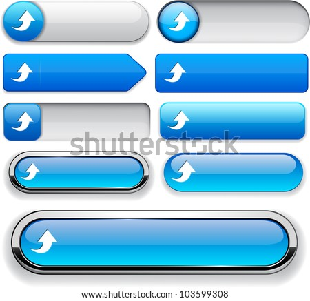 Upload blue design elements for website or app. Vector eps10.