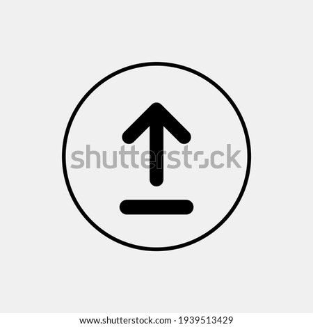 Upload icon with circle outline. Upload or up arrow flat icon.