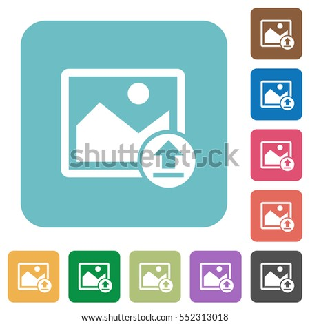 Upload image white flat icons on color rounded square backgrounds
