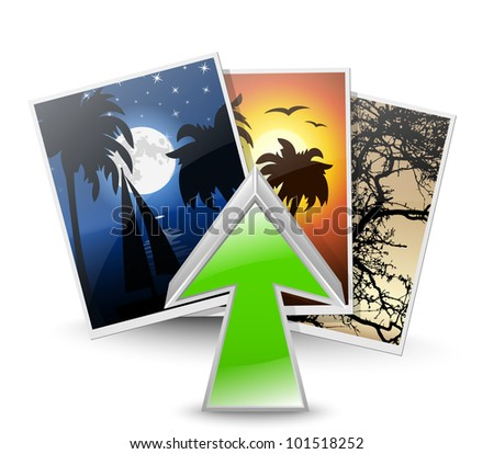 Upload photos icon. Vector illustration
