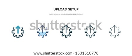 upload setup icon in different style vector illustration. two colored and black upload setup vector icons designed in filled, outline, line and stroke style can be used for web, mobile, ui