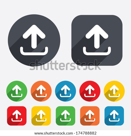 Upload sign icon. Upload button. Load symbol. Circles and rounded squares 12 buttons. Vector