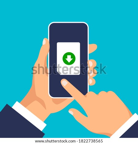 Uploading files to phone. Download process. Man click to the document icon on the smartphone display. Vector illustration. stock photo