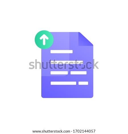 Uploading office file flat icon with gradient style. Uploading office document icon. File upload task icon for business and presentation