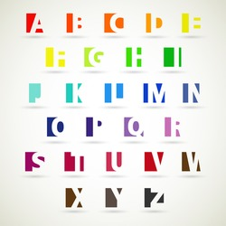 Upper case alphabet set, modern style.