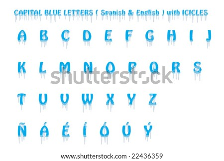 Upper case Spanish and English icicles font. Isolated. VECTOR.