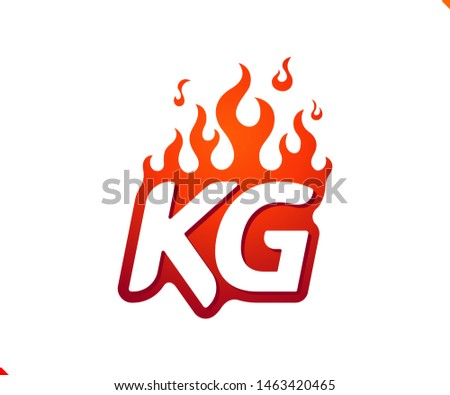 Uppercase initial logo letter KG with blazing flame silhouette,  simple and retro style logotype for adventure and sport activity.