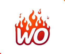 Uppercase initial logo letter WO with blazing flame silhouette,  simple and retro style logotype for adventure and sport activity.