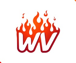 Uppercase initial logo letter WV with blazing flame silhouette,  simple and retro style logotype for adventure and sport activity.