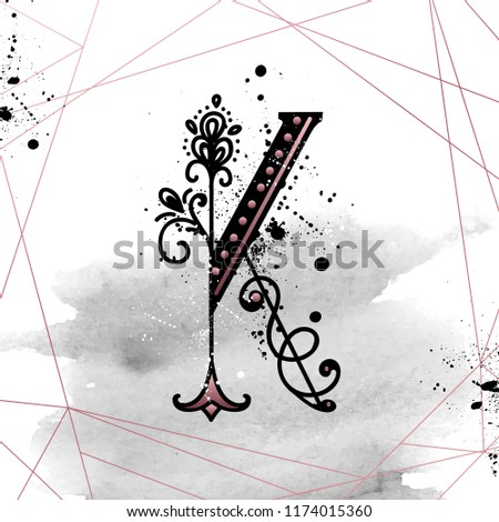 Uppercase Letter K with decorated flower. Hand Drawn floral monogram, vector illustration eps 10