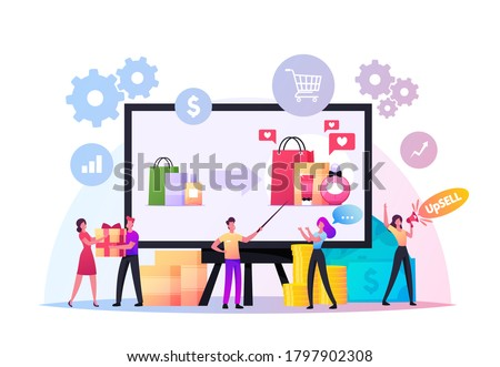 Upsell Concept. Tiny Sellers and Buyers Characters at Huge Pc. Upselling Online Marketing, Technique for More Profitable Sale. Promo for Shoppers, Gifts and Bonuses. Cartoon People Vector Illustration Stock fotó ©