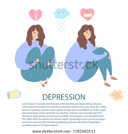 Upset and depressed women with broken heart hug legs. Set of sad and depressed girls sitting. Heartbreak and sad flat icons. Concept of stress, sadness, depression, metaphor. Flat - Vector