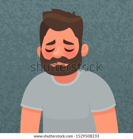 Upset and unhappy  man. Sad expression. The concept of grief and loneliness. Vector illustration in cartoon style