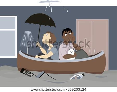 upset couple with a dog sitting