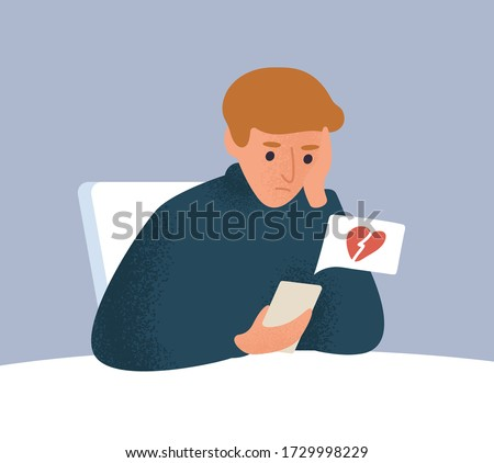 Upset male with broken heart look at screen of smartphone vector flat illustration. Frustrated guy having break up message or seeing treason feeling hurt. Depressed man having problem in relationship