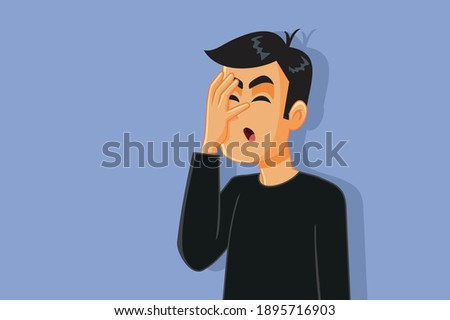 Upset Man Feeling Frustrated and Desperate. Adult person feeling ashamed about failing and making mistakes  Photo stock ©