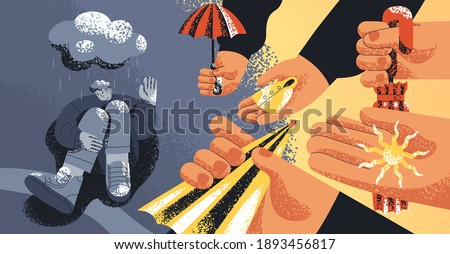 Upset man suffering from depression, refusing from helping hands and support offered by people. Concept of pessimism, aid rejection, losing hope and psychological problems. Flat vector illustration Сток-фото ©