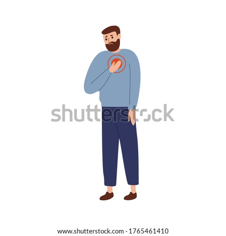 Upset man touching chest with painful expression vector flat illustration. Sad guy suffering from heart attack isolated on white. Unhappy male having pain symptoms and health disorder