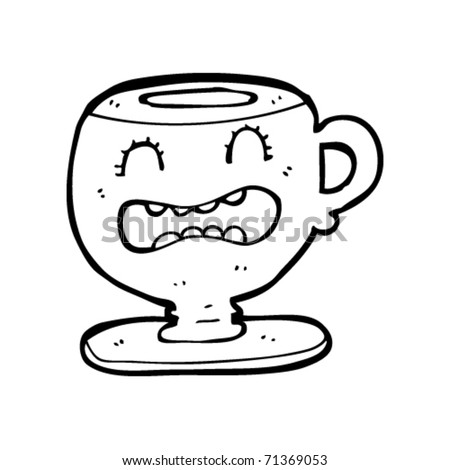 Upset Man Cartoon. stock vector : upset tea cup