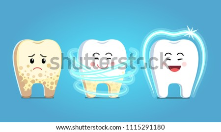 Upset tooth character with plaque gets treatment, becomes healthy, shiny & protected. Dental plaque removal procedure steps. Teeth dentistry protection, dental care clipart. Flat vector illustration