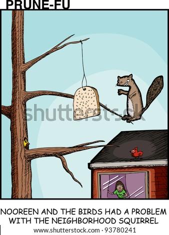 upset woman and birds in prune