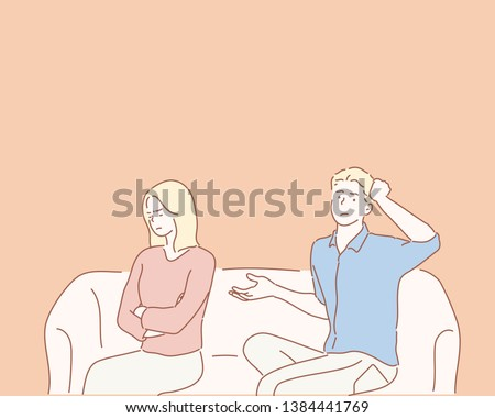 Upset Young Couple Sitting On Sofa At Home. Hand drawn style vector design illustrations.