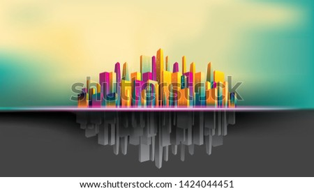 upside down city  colorful and