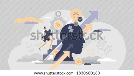 Upskilling learn as work educational qualification rise tiny person concept. Employee training and coach for positive progress and smart labor vector illustration. Performance boost with mentoring job