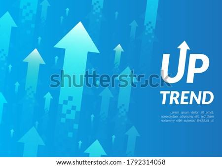 Uptrend abstract background. A group of digital green and blue arrows points up in the air shows about feeling that rise, growth, motivation, hope, and more positive meaning.