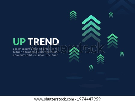 Uptrend digital abstract background. A group of digital green arrows rising in the air shows feelings that exponential growth, fast, motivation, and more positive meaning.