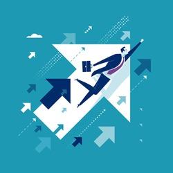 Upwards. Businessman flying between arrows. Concept business illustration