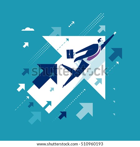 Upwards. Businessman flying between arrows. Concept business illustration
