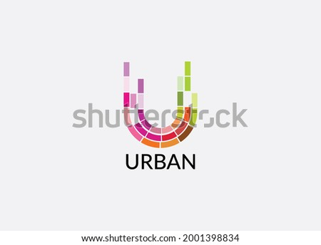 Urban Abstract u letter modern lettermarks logo design Stok fotoğraf ©