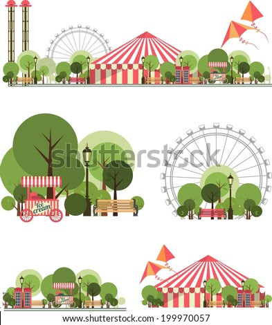 urban amusement park circus tent roundabouts in the sky kites and balloons for large format  printing on white and transparent background consist of several compositions