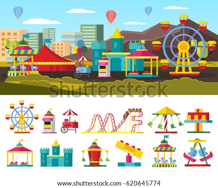 Shutterstock Urban amusement park concept with ticket window street food store different attractions and carousels isolated vector illustration