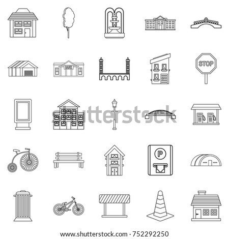 Urban architecture icons set. Outline set of 25 urban architecture vector icons for web isolated on white background