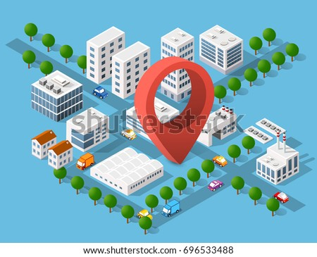 Urban area of the city infrastructure with pin destination, transport, streets, houses and trees