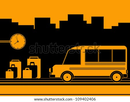 urban background with bus station symbol travel