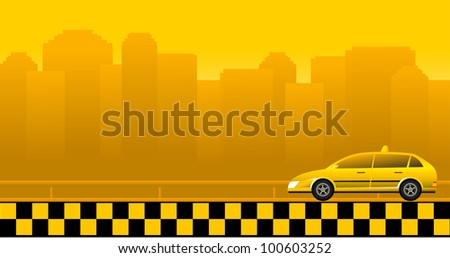 Urban background with taxi car and skyscrapers